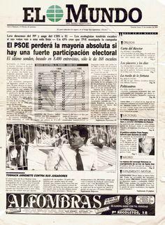 Primera página del primer número del diario El Mundo (Madrid), 23 de octubre de 1989