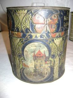 $34 1900'w Georg Goess Nurnberg Lebkuchen lithographed Embossed Tin Vintage Early 1900s | eBay