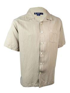 NEW Cremieux Sunwashed Silk/Linen Short Sleeve Shirt - XL Sand (tan) #Cremieux…