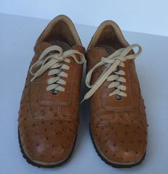 1faf17c55 Santoni Club Italy Light Brown & Beige Woman's Size 40 Lace Up Sneakers  Shoes