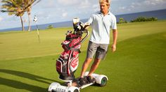 Surfer, fitness icon, and inspired inventor Laird Hamilton was tired of humping his wrenches down the fairway. So he created a motorized skateboard marketed toward the country club crowd.