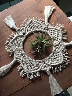 Unfettered Co specializes in unique macrame & supplies by UnfetteredCo : Macrame Mandala / Table Decor / Table Centrepiece / Wedding Decor / Macrame Plant Skirt Macrame Plant, Macrame Mirror, Diy Mirror, Macrame Supplies, Macrame Projects, Modern Macrame, Macrame Design, Macrame Patterns, Diy Interior