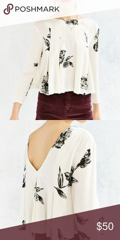 Kimchi Blue Floral Black and Cream Summer Blouse Long sleeve light summery blouse with deep V back. Top has never been worn! Brand new. Pair with black shorts or jeans! Kimchi Blue Tops Blouses