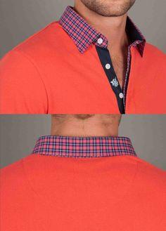 Astoria Couture - Stone Rose/Plaid Collar Poppy Red Polo Shirt, $99.00 (http://www.astoriacouture.com/stone-rose-plaid-collar-poppy-red-polo-shirt/)