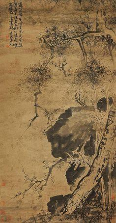 明代 - 徐渭 ( Xu Wei, 1521-1593 )          三清圖 -- 立軸,纸本,166×85cm.          Ming Dynasty