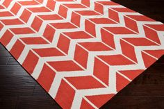 Coral Orange and Ivory Chevron Patterned Rug