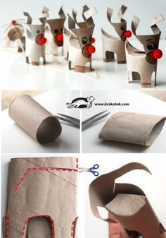 Christmas deer from empty toilet paper rolls Christmas Deer, Christmas Crafts For Kids, All Things Christmas, Holiday Crafts, Christmas Holidays, Christmas Gifts, Christmas Decorations, Christmas Ornaments, Christmas Candles