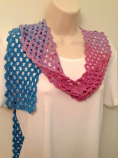 Blue and Pink Lace Crochet Scarf by SueAnnesKnitShoppe on Etsy