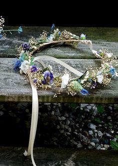 Blue Purple Flower Crown dried silk floral hair wreath bridal halo destination wedding Wildflower accessories music festivals garland by AmoreBride on Etsy