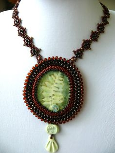 Bead embroidered necklace with the ceramic cabochon DEEP FOREST superduo beads EBW Teams Seed beaded Jewelry
