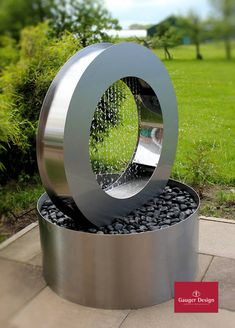 """Stainless steel terrace fountain """"Radomil"""" with lighting - Beleuchtung"""