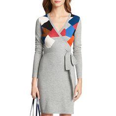 Rank & Style's Talking Top Tens - Kristina Thayer's Ten Essentials: DVF Leandra Sweater Wrap Dress #rankandstyle