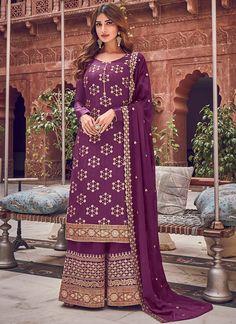 Palazzo Dress, Palazzo Suit, Palazzo Style, Pantalon Cigarette, Purple Fabric, Purple Art, Costume, Salwar Suits, Salwar Kameez