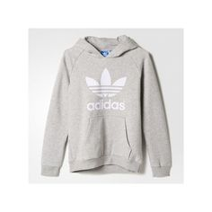 adidas Trefoil Flock Hooded Sweatshirt Medium Heather ($42) ❤ liked on Polyvore featuring tops, hoodies, adidas hoodie, adidas pullover, hooded fleece pullover, hooded pullover and raglan hoodie