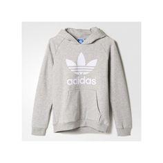 adidas Trefoil Flock Hooded Sweatshirt Medium Heather ($42) ❤ liked on Polyvore featuring tops, hoodies, adidas hoodie, adidas pullover, hooded fleece pullover, hooded pullover and raglan hoodie