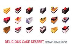 36 isometric cake dessert icon set by Anttoniu on Creative Market