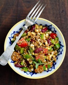 Cajun Bulgur Salad - This recipe is super healthy and flavorful!  I used a red bell pepper instead of green and added lima beans to balance out the color.  It's a perfect lunch for people with weird schedules since it'll keep well in the refrigerator for a week or so. I highly recommend it!