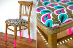 Cómo sumar detalles fluo a la hora de decorar  ¡Reciclá! Una antigua silla puede revivir con un toque de color y un nuevo tapizado.         Foto:Havingareallynicetime.com