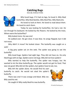 This Reading Comprehension Worksheet - Catching Bugs is for teaching reading comprehension. Use this reading comprehension story to teach reading comprehension.