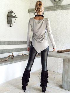 Blusa Top asimétrico gris de plata / gris blusa Top /