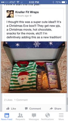 Christmas Eve box.... get a bigger box, one either side put pajamas for he kids, in the middle put a christmas movie, and then various boxes of candy and a few bags of popcorn, each get a christmas coffee mug and cocoa. unwrap on christmas eve to enjoy a movie night in pjs with snacks together!