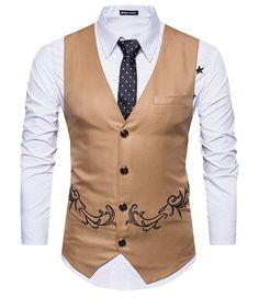 Luxusná pánska vesta ku obleku s ornamentom v hnedej farbe Waistcoat Men, Mens Suit Vest, Double Breasted Vest, Single Breasted, Blazer Shirt, Men Shirt, Winter Vest, Embroidery Fashion, Fashion