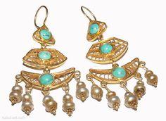 Orientalische Massiv Silber vergoldet Ohrringe earring türkis afghanistan  nr-2