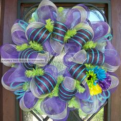 Flowered Spring Summer Easter Deco Mesh Wreath by myfriendbo, $62.00