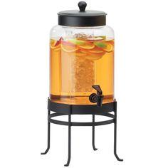 10W x 12D x 20.5H Soho Glass Beverage Dispenser 2 Gallon Black Base