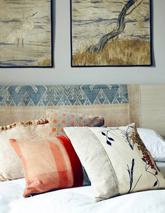 love the pillow in the foreground -- will try a diy London Home, East London, Elle Decor, Reclaimed Materials, Kimonos Fabrics, Indonesian Textiles, Bedrooms, Antiques Indonesian, Japanese Kimonos