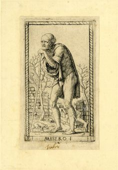 WL male figure, standing in TQ profile to l; naked except for a short cloak; leaning on his staff, two dogs at his feet; after the so-called Tarocchi Cards of Mantegna.  Engraving