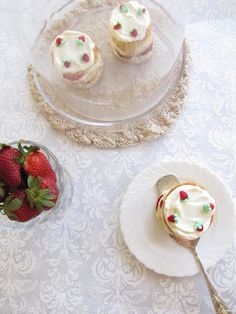 my button cake: miniature strawberry layer cakes