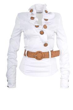 The Amazon de online store voor damesmode::Blouses & Tunieken::Zakelijke Blouse - Wit