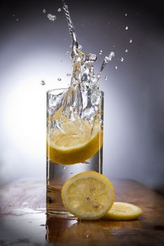 Healthy Water, frozen motion Food photography Still Advertisement Lemon