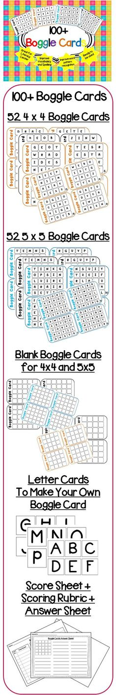 100+ Boggle Cards.  Visit my blog and facebook page for freebies, tips and new product updates: rollerenglish.blogspot.com https://www.facebook.com/rollerenglish