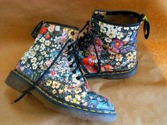 Floral Flower Dr. Doc Martens Boots UK 6 US 8 US 8.5 Rare! Amazing Condition- Allison Brock✌-#Allison #Amazing #boots #Brockx270c #condition #Doc #Dr #floral #flower #martens #rare #UK #DocMartensstyle