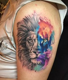 Ideas For Tattoo Designs Lion Water Colors - My list of best tattoo models Wolf Tattoos, Lion Arm Tattoo, Lion Tattoo Sleeves, Lion Head Tattoos, Mens Lion Tattoo, Finger Tattoos, Sleeve Tattoos, Tattoo Designs, Lion Tattoo Design