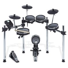 Alesis Surge Mesh Kit - Eight-Piece Electronic Drum Kit with Mesh Heads, Chrome Rack and Surge Drum Module including 40 Kits, 385 sounds, 60 Play Along Tracks and USB/MIDI Connectivity Electric Drum Set, Electric Piano, Drum Key, Modern Drummer, Drum Pedal, Drummer Gifts, Electronic Kits, Drum Lessons, Drum