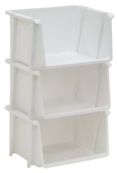 United Solutions Set of Three Small Stacking Storage Bins, White by United Solutions. $9.71. Fits nicely in a closet, cabinet or on a shelf. Set of three small stacking bins. Constructed of durable, heavy duty plastic. Ideal for keeping small items organized. Bins can be used together or separate. Organize your home, garage or office with this set of three mini stacking bins from United Solutions.  The small size fits nicely in a closet, cabinet or on a shelf where...
