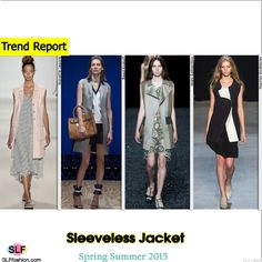 Sleeveless Jacket Trend for Spring Summer 2015. Nanette Lepore, Reed Krakoff, Mary Katrantzou,and Narciso Rodriguez #Spring2015 #SS15 #blazer