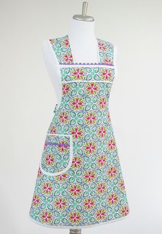 Lavender and Blue Retro Cooking Apron in Kate Spain Terrain Fabric