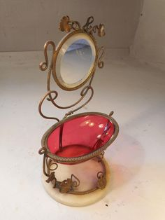 Antique French Gilt Metal , Ruby Glass Pocket Watch Stand , Jewellery , Ring Holder