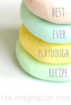 Best Ever No-Cook Play Dough Recipe! - The Imagination Tree - Kids' DIY - Best ever play dough recipe 4 minute, no-cook play dough from The Imagination Tree - Projects For Kids, Diy For Kids, Crafts For Kids, Diy Projects, Craft Kids, Toddler Play, Toddler Crafts, Toddler Twins, Toddler Games