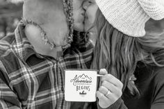 The Adventure Begins mug from Patina. Also, HUGE shout out to Crystal Vogt for some amazing engagement photos.