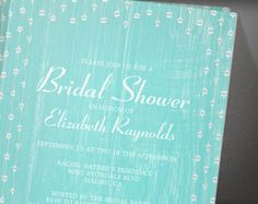 Teal Rustic Country Barn Wood Bridal Shower Invitation