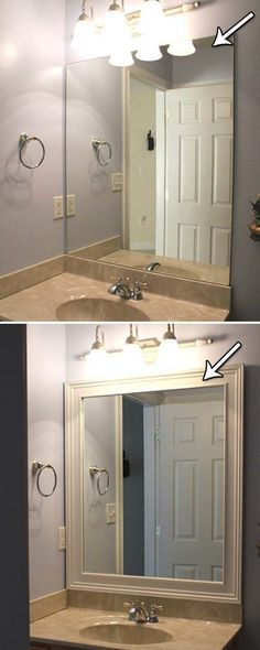 Framing your bathroom mirror with simple stock molding and wooden embellishments.