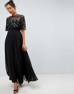 ASOS Embellished and Embroidered Crop Top Maxi Dress