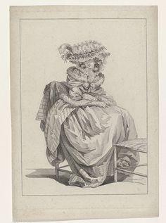 anoniem | Gallerie des Modes, attributed to Nicolas Dupin, 1785 | Vrouw, zittend op een stoel met de voeten op de sport van een tweede stoel. Zij draagt een mantelet van satijn, afgezet met bont. Hieronder een japon en rok, die zijn afgezet met een brede band met golfmotief. Accessoires: geplooide muts versierd met bloemen en veer, geplooide kraag, lange handschoenen, schoenen met hakken en strikken.  Prent uit de serie ccc. 47e Cahier des Costumes Français, 42e Suite d'Habillemens à la mode…