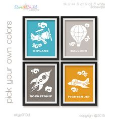 Baby Boy Nursery Art Biplane Rocket Jet by SweetChildDesignsFL