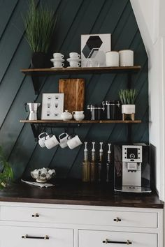 10 DIY Coffee Bar Cabinet Ideas for the Perfect Cup of Joe Dark Kitchen Cabinets, Built In Cabinets, Modern Cabinets, Kitchen Cupboard, Kitchen Appliances, Coffee Bar Station, Home Coffee Stations, Tea Station, Coffee Bars In Kitchen